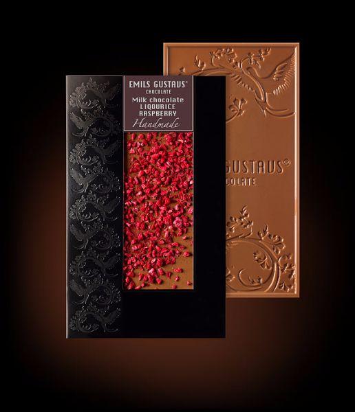 Шоколад с лакрицей и малиной