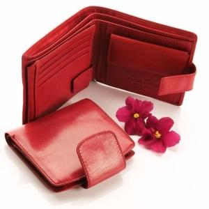 Красное портмоне из натуральной кожи